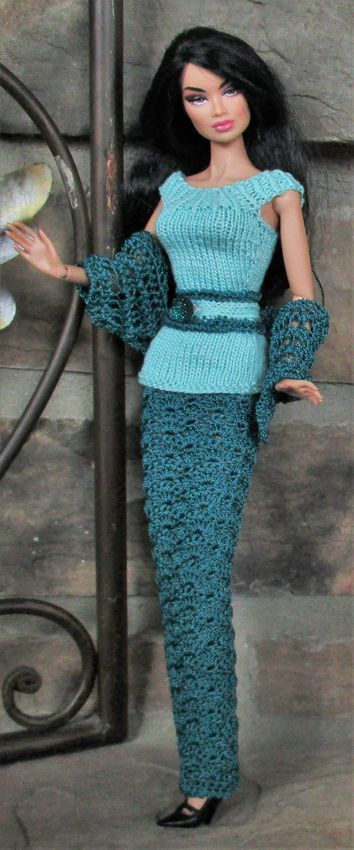 Integrity Kyori wearing teal crochet pencil skirt and seafoam knit top with matching jewel button belt and shawl. Buy at FDFdolls.com!