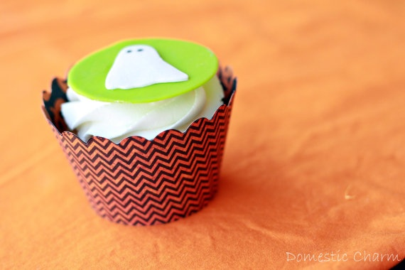 Halloween Chevron Pattern Cupcake Wrappers from Domestic Charm