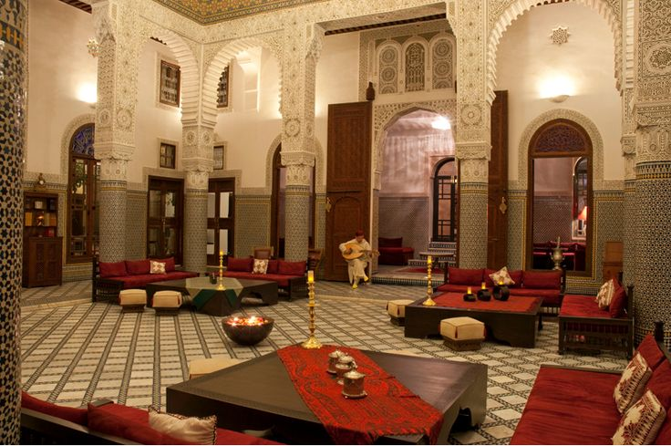 The inner courtyard is what a very luxurious  yet traditional Riad might look like.