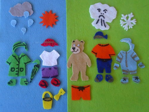 32 Piece Weather Bear Flannel Board Felt Story Set