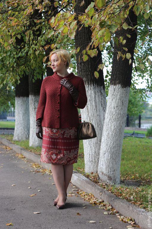 Купить Кардиган в ретро-стиле - бордовый, кардиган вязаный, кардиган женский, кардиган спицами