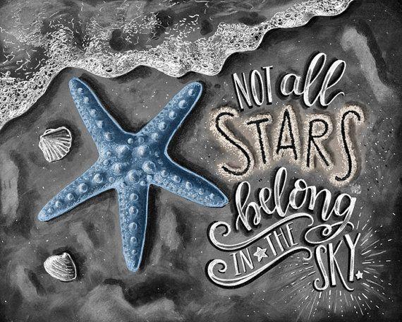 Starfish Art, Beach Decor, Starfish Print, Beach Print, Chalkboard Art, Chalk Art, Not All Stars Belong In The Sky, Starfish Wall Art