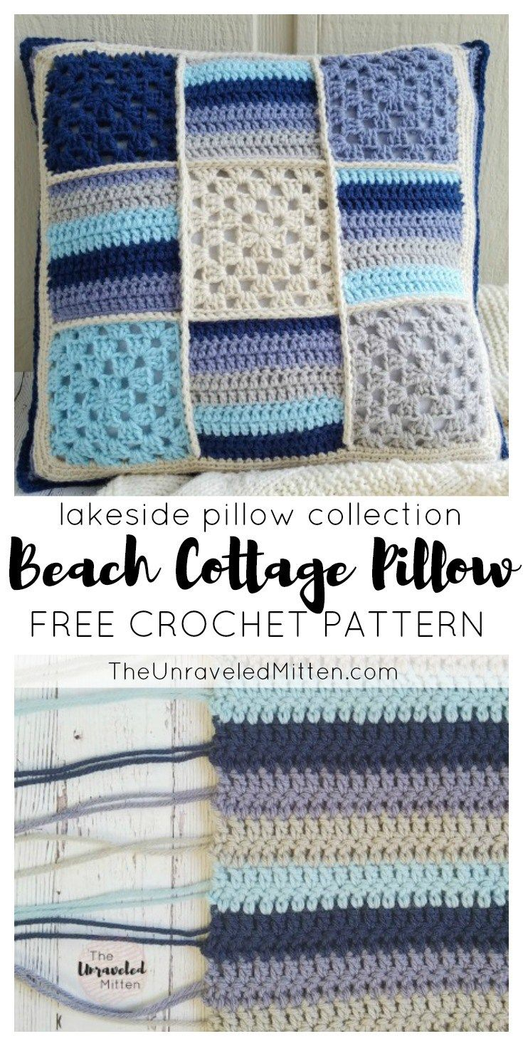465 best crochet cushions covers images on pinterest pillow beach cottage pillow lakeside pillow collection free crochet pattern the unraveled mitten bankloansurffo Image collections