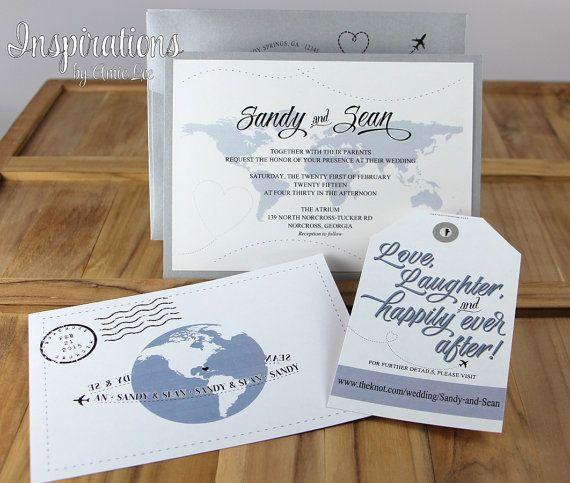 Travel Map Wedding Invitations by InspirationsbyAmieLe on Etsy