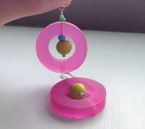 Pink resin drop earrings with yellow glass beads fun