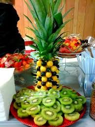 Resultado de imagen de decoracion de mesa navideña con frutas y verduras