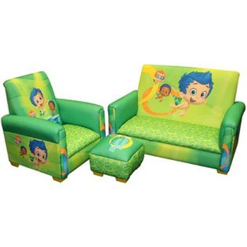 nickelodeon bubble guppies fintastic toddler sofa chair and ottoman set for his new play room