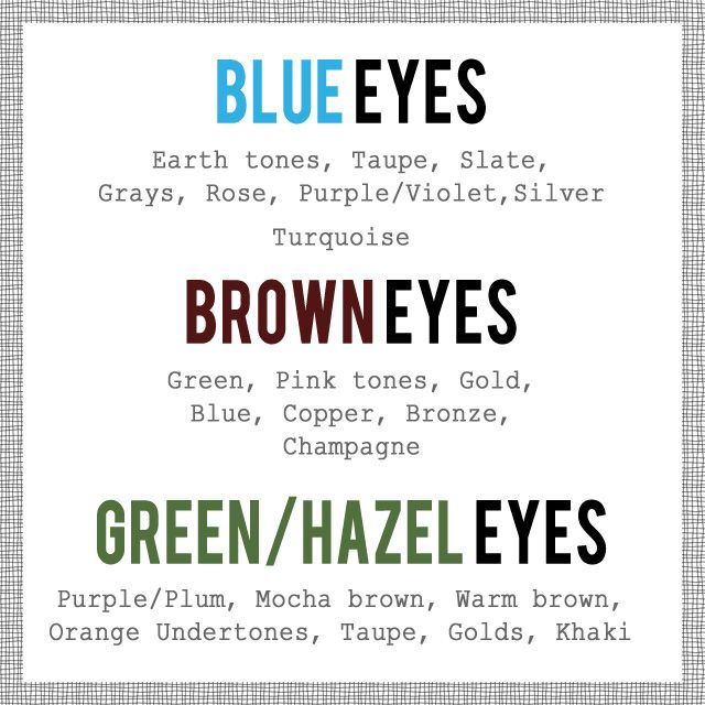 makeup pairing color of  makeup according to eye color. Finally some colors that i actually like!!