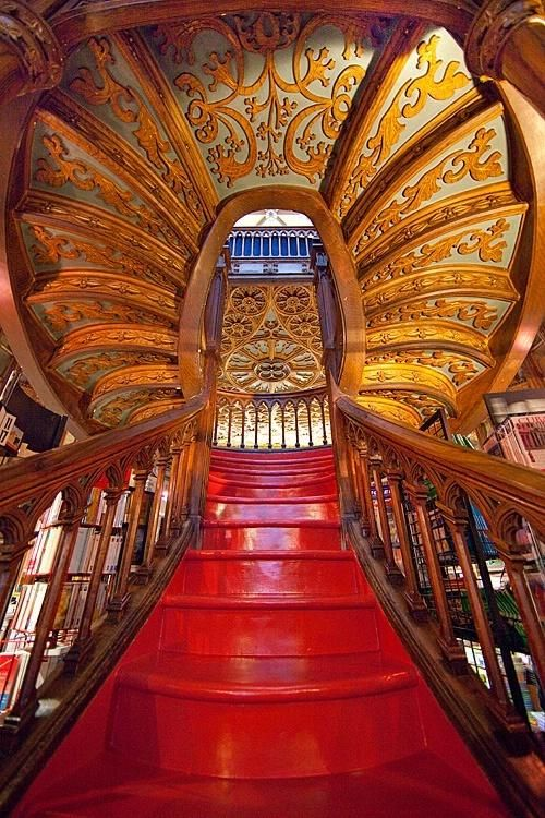 Staircase, Lello Bookstore, Porto, Portugal an absolute Must see in Porto!  @Kara Morehouse Morehouse Morehouse Franker you must be counting the weeks!