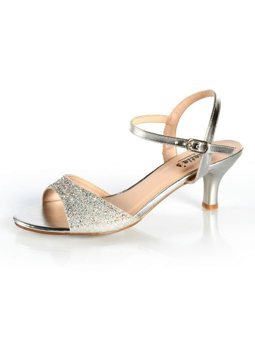 Sparkly Open Toed Strapped 2 3/4 Inch Heel