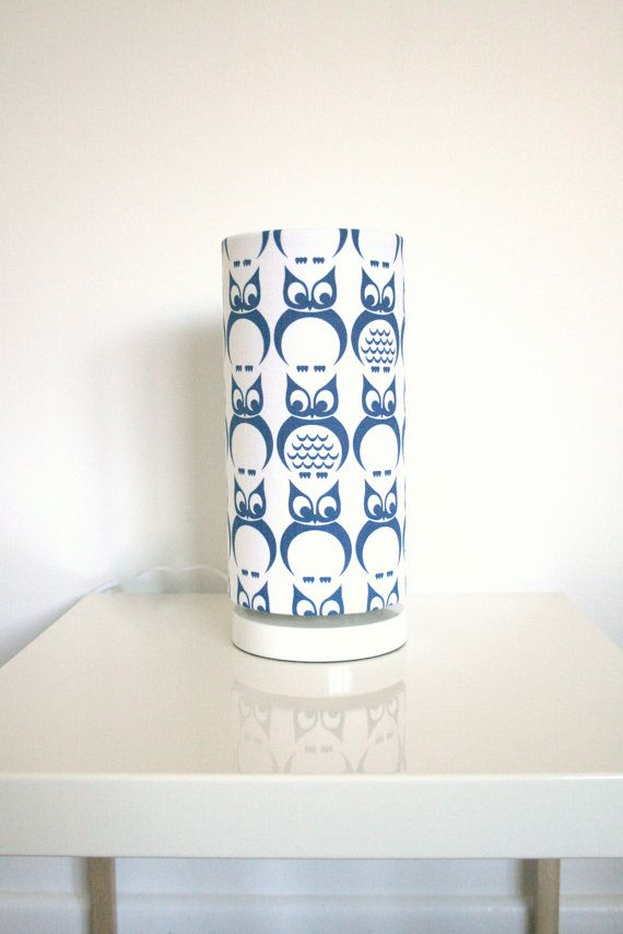 123 best cute childrens lampshades nursery lighting ideas fabric lampshade cylinder shape royal blue owl screen printed fabric madeinfabric etsy aloadofball Images