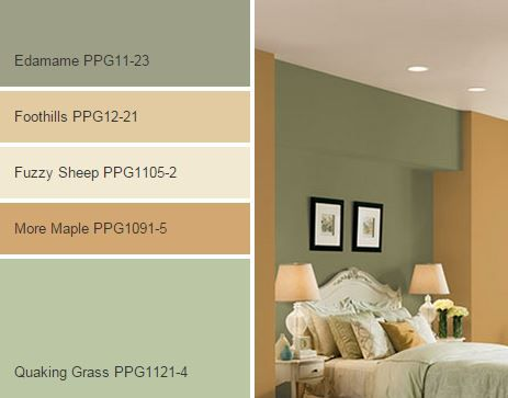 Easy Being Green Harmony Palette By Ppg Voice Of Color Includes A Mix Mossy Greens Golden Beiges And Sunny Yellow Paint Inspiration In
