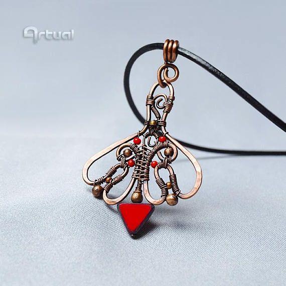 Copper pendant tribal necklace pendant necklace wire