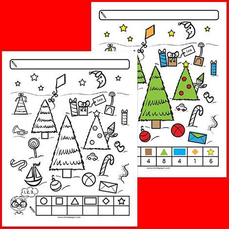 GRATUIT! FREE! L'enfant compte les formes qu'il observe. Il inscrit ses réponses dans le tableau au bas de la page. Il peut également colorier les formes de couleurs différentes afin de les compter plus facilement, tel que montré dans le corrigé.
