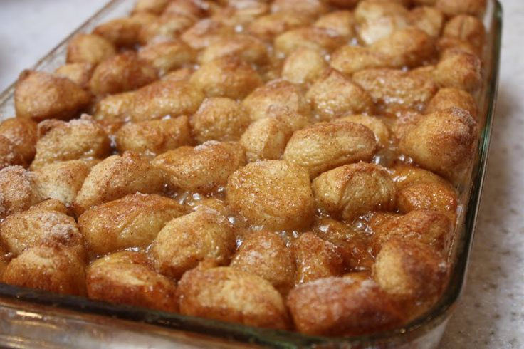 Monkey Bread with Rhodes Dinner Rolls   Elle's Studio Blog: cut into quarters in a baking dish