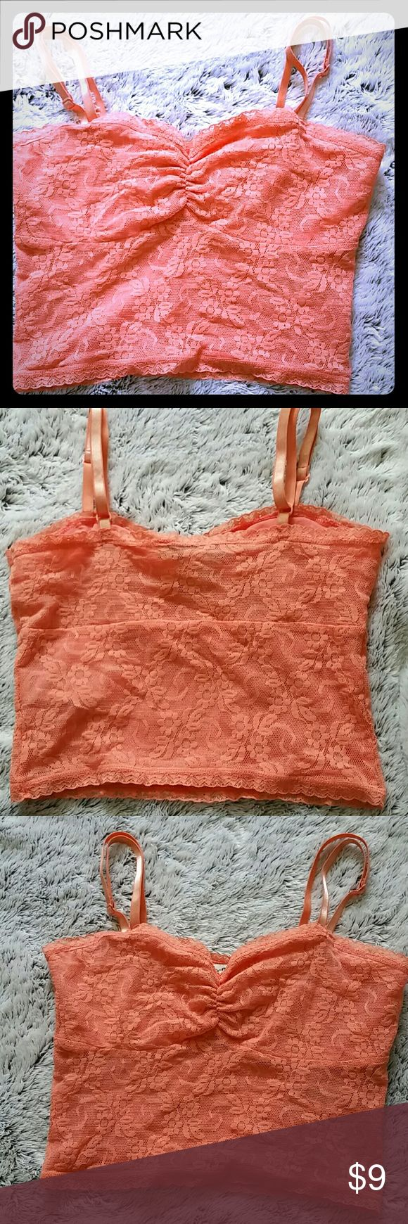 Coral Lace Crop Longline bustier bralette. Wear under tops and tanks or with alone. Great for festivals (pair with shorts or cut offs or a high waisted skirt). Going out top when paired with high waisted pants or jeans. Options are endless. *Barely worn, less than a handful of times. Forever 21 Tops Crop Tops