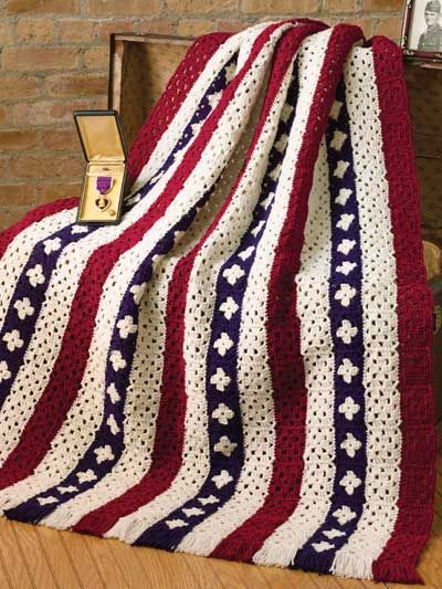 Let Freedom Ring - Nice layout of granny squares for this patriotic-themed throw.  Tons of free patterns at this site with sign-up (membership is also free)   . . . .   ღTrish W ~ http://www.pinterest.com/trishw/  . . . .  #crochet #afghan #blanket