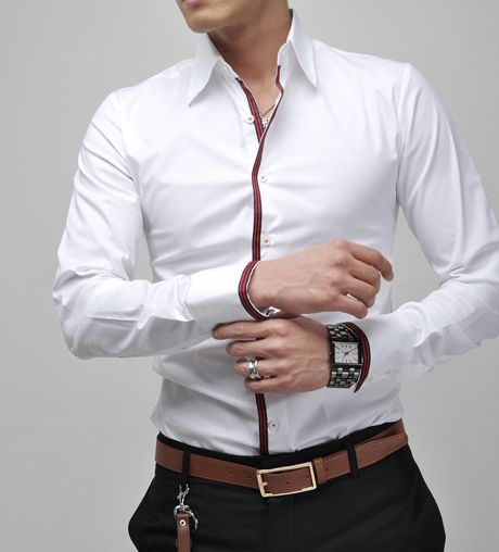 Fit Striped Stand Collar White Shirt