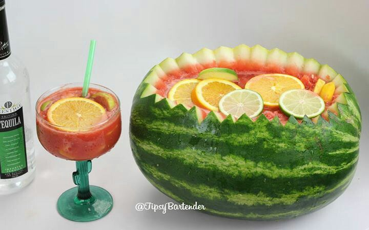 recipe: watermelon alcoholic punch bowl [6]