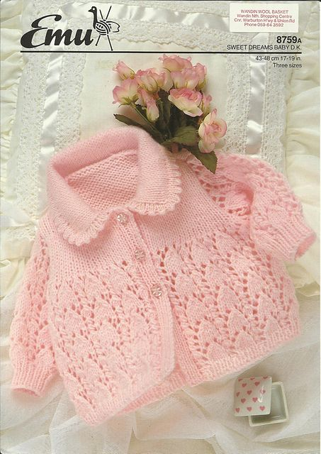 Beautiful lace on this pretty little jacket. Ravelry: Baby Sweater pattern by Emu Wools Ltd Nr 8759A ($$)