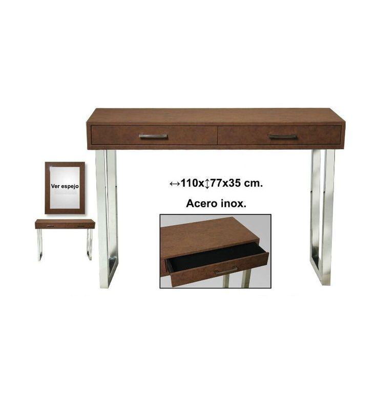 Mesa de entrada polipiel marr n patas metal son muebles - Son muebles auxiliares ...