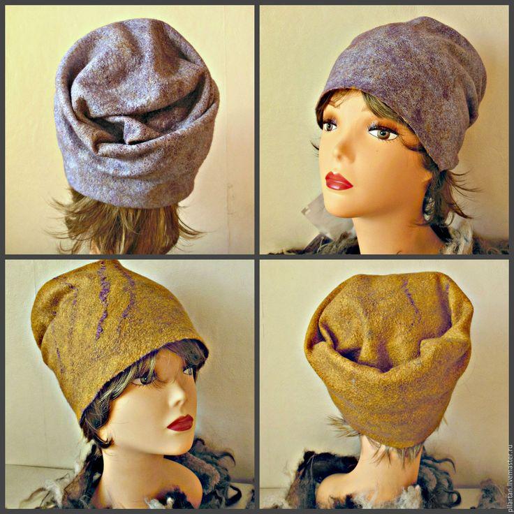 Купить Шапка бини из шерсти горчиная голубая Кристина - шапка, шапка женская, шапка валяная