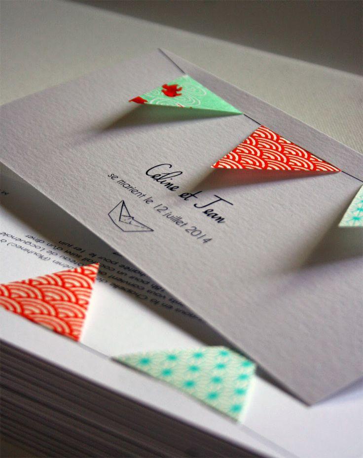 Faire part fanions fanions#papierjaponais#fleurdepommier#mariage#marin#fanions#faitmain#chic#coloré#rectangle#