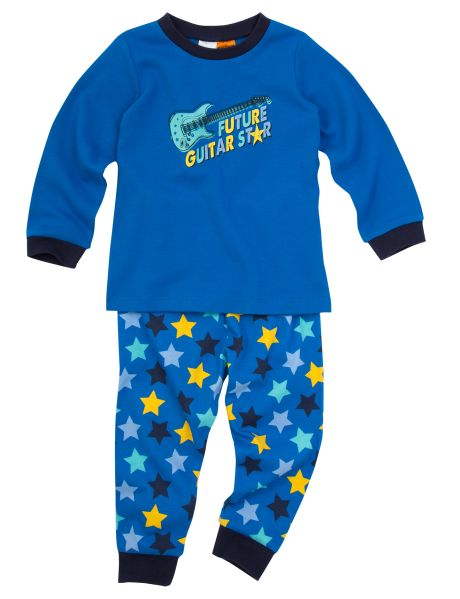 A 100% cotton future guitar star PJ set, with star printed bottoms.