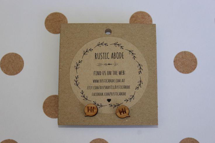 """Handmade Wooden Laser Cut Stud Earrings ~ """"Hi"""" Speech Bubble"""