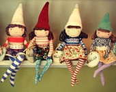 "Nordic inspired stuffed softie girl doll.  12"" sitting posable shelf elf.  OOAK - Bluesy. $34.00, via Etsy."
