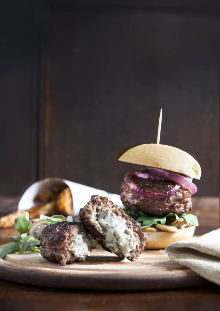 Enjoy our Castle MacLellan Mushroom Pâté ooze from these stuffed burgers. A scrumptious recipe. Best served with black pudding in a fresh ciabatta with salad.