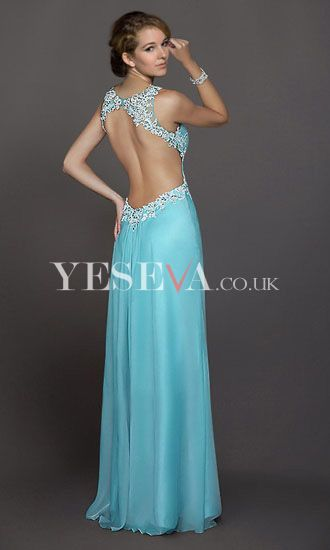 Luxurious A Line Floor-Length V-Neck Halter Empire Open Back Long Evening Prom Dresses UK with Beads P12Y10AU0243