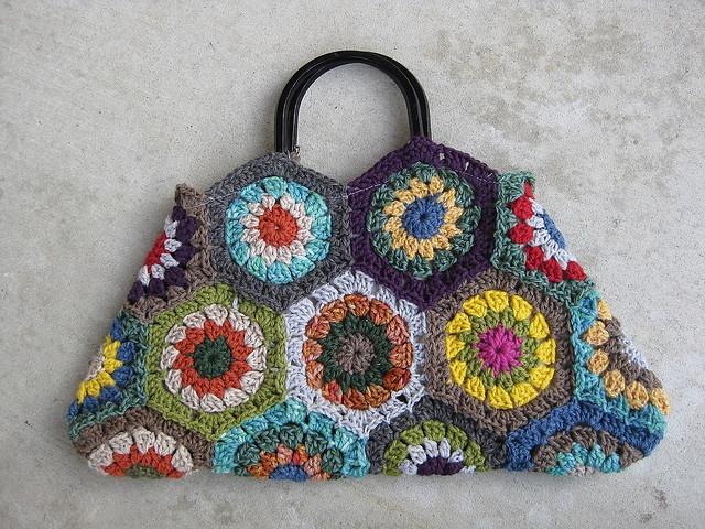 Crochet Hexagon Bag knit...crochet.... Pinterest