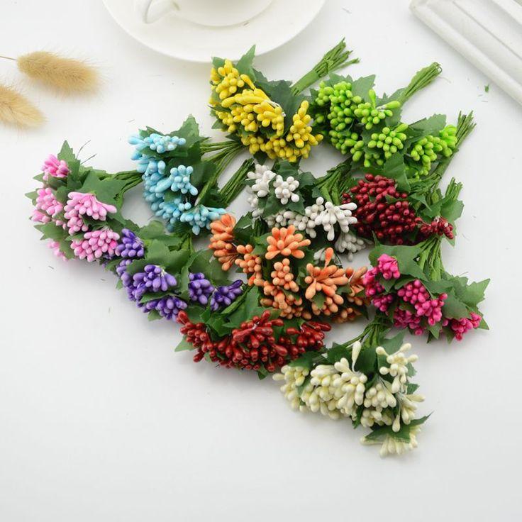 12pcs mulberry silk party berry stamen leaf cheap artificial flowers decoration diy head wreaths corsage fake