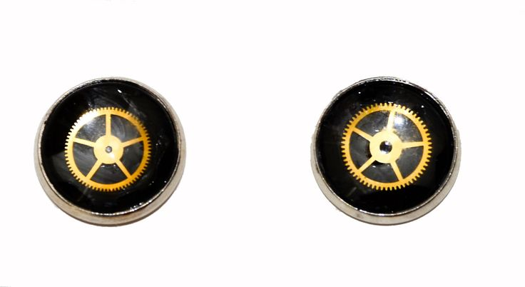 14mm Steampunk Ear Studs. Silver Plated containing genuine Watch Parts. Hand Made in Cornwall, UK by thelongwayround on Etsy