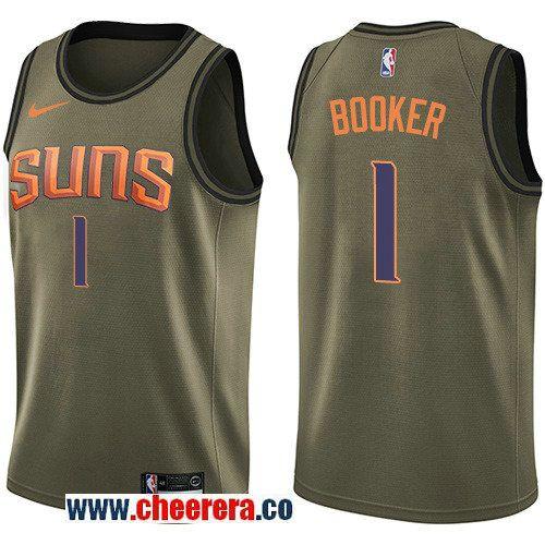 brand new 840d8 44eb8 Men's Nike Phoenix Suns #1 Devin Booker Green Salute to ...