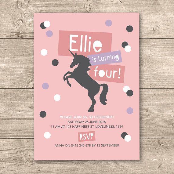 Girls Unicorn birthday invitation // any age by InkandCardDesigns