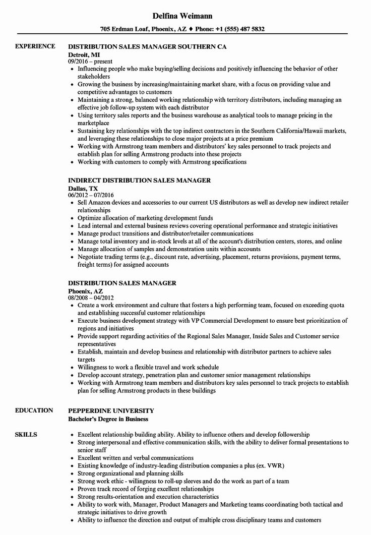 20 Sales Manager Job Description Resume (With images