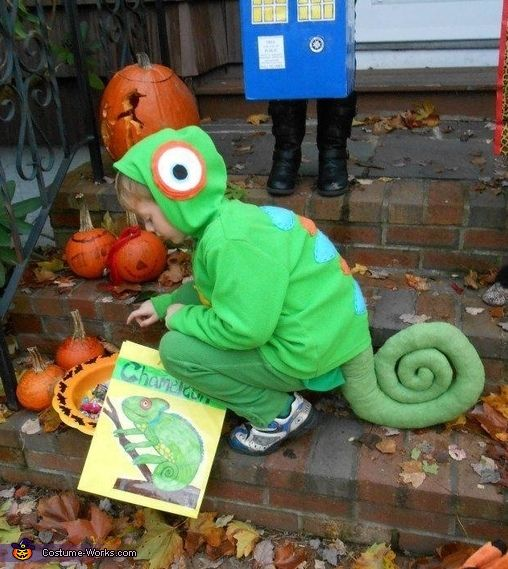 Chameleon costume made from old clothes, felt, and a green body pillow  Book week costume...Eric carle..mixed-up chameleon
