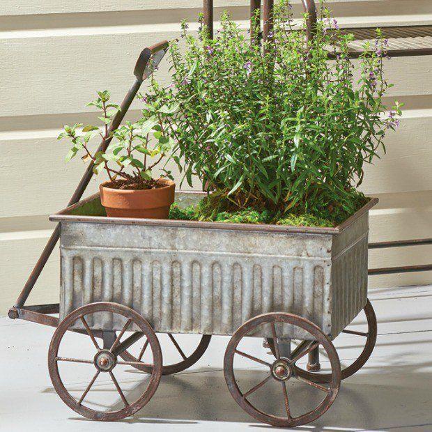 Galvanized Rolling Wagon Cart