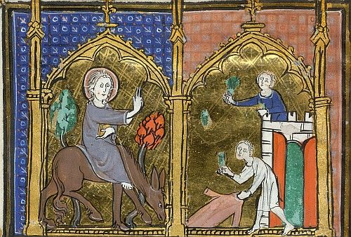 An illumination from a French psalter and hours, c.1300, depicting the entry of Jesus into Jerusalem on a donkey, marking Palm Sunday; Jesus is greeted by people waving palm branches, symbols of triumph; (Yates Thompson 15 f.17v). (British Library)