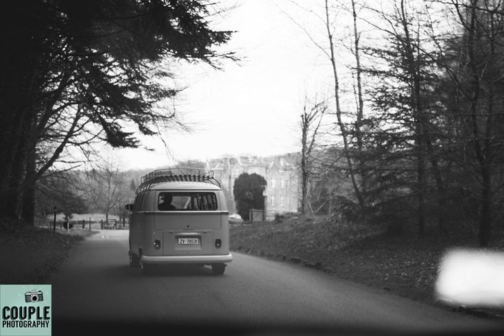 The newlyweds arrive at Kinnitty Castle in their VW Wedding Camper Van. Weddings at Kinnitty Castle photographed by Couple Photography.