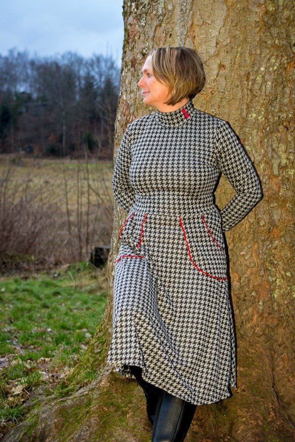 Asta Jersey dress PDF sewing pattern for women turtle neck and long sleeve houndstooth and red piping and buttons. Wardrobe By Me skater dress PDF sewing pattern in size 0-16 / 30-46