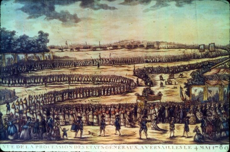 Opening of the Estates General at Versailles, 4 May 1789. The opening of the Estates followed exactly the ritual of 1614, the last meeting of the assembly. This engraving represents the event in the traditional mode of a religious procession. The long procession shows the major participants in a serpentine fashion permitting the identification of the Estate of the Clergy in first position, that of the Nobility in second, and that of the Third Estate