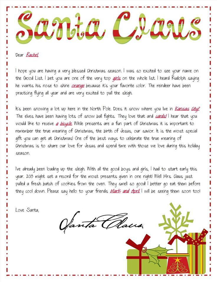 Religious Focused Santa Letters