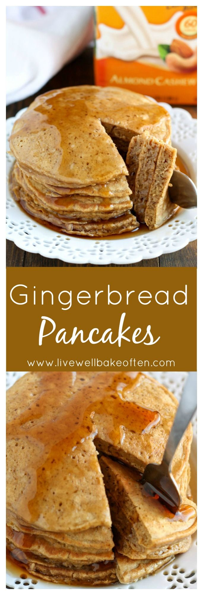 These Gingerbread Pancakes are easy to whip up and perfect for breakfast during the holiday season. Serve these warm with a little maple syrup for a treat that everyone will love!