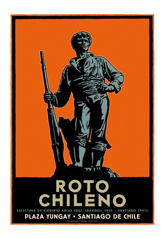 Free shipping  Roto Chileno  poster por IlustradorJotaLillo en Etsy
