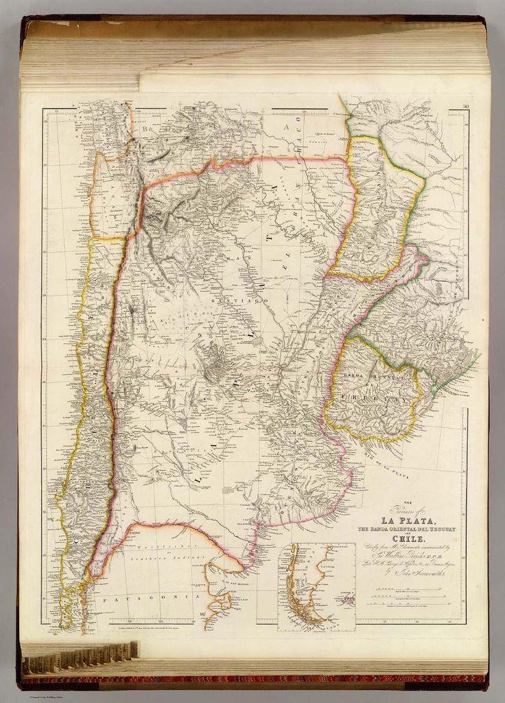 Mapa historico Las provincias de la Plata, el del de oriental de Banda Uruguay y el chile