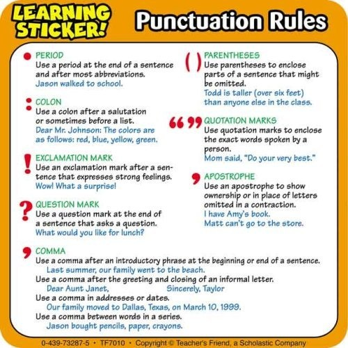 Writing punctuation rules