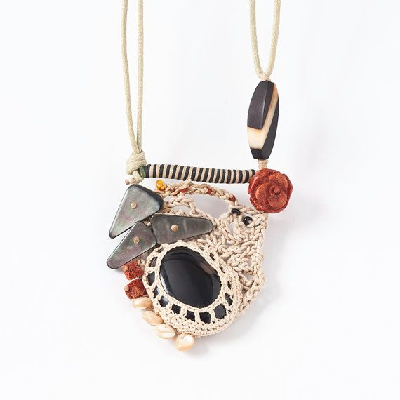 Free Form Crocheted Necklace Pendant in Cream, with Black Agate,Avalon,Spong Coral Rose and Seashell Rondelle